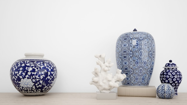 Classic vases for interior decoration and white wall