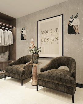 Classic walk in closet with mockup poster on wall