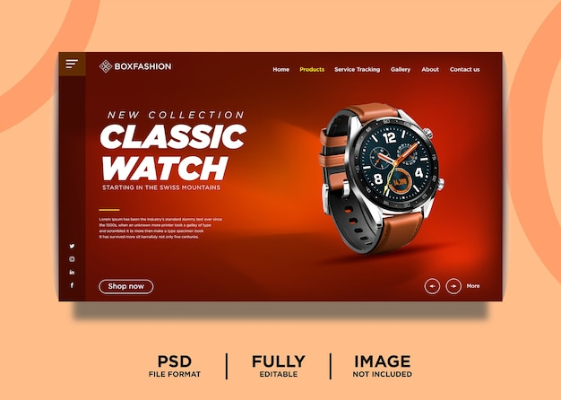 Classic watch brand product landing page template