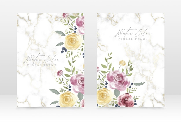 Classic watercolor style wedding and party celebration invitation design template