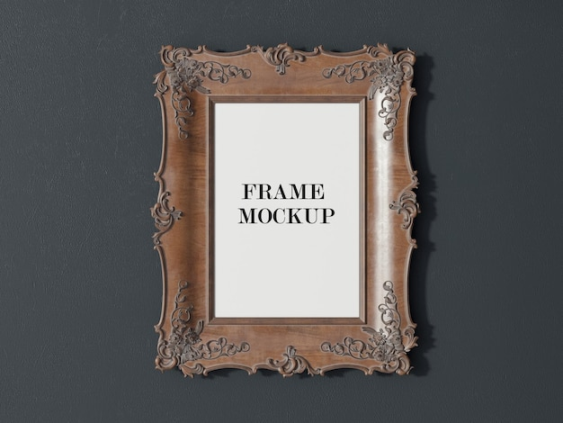 Classic wooden photo frame mockup