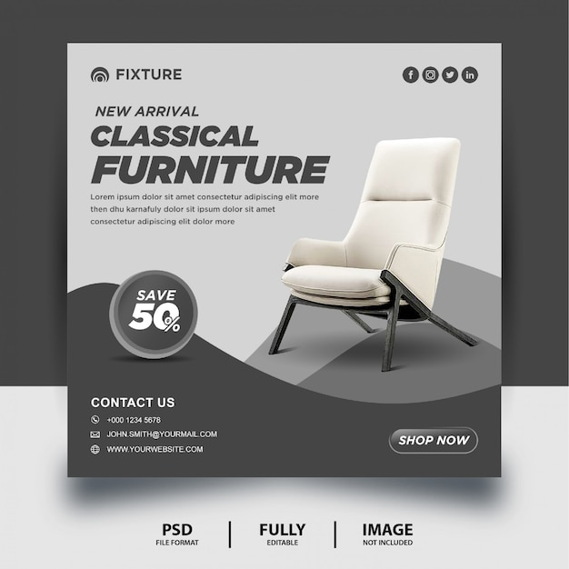 Classical furniture arrival social media post banner
