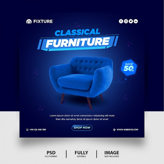 Classical furniture sale social media post template