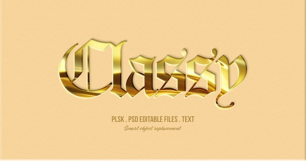 Classy 3d text style effect mockup