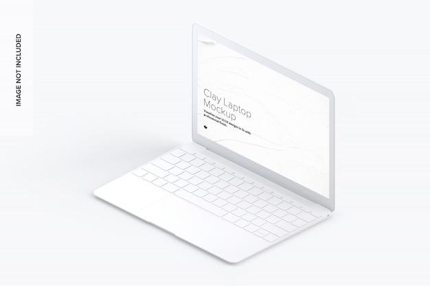粘土のラップトップのモックアップ、等角投影の右側面図