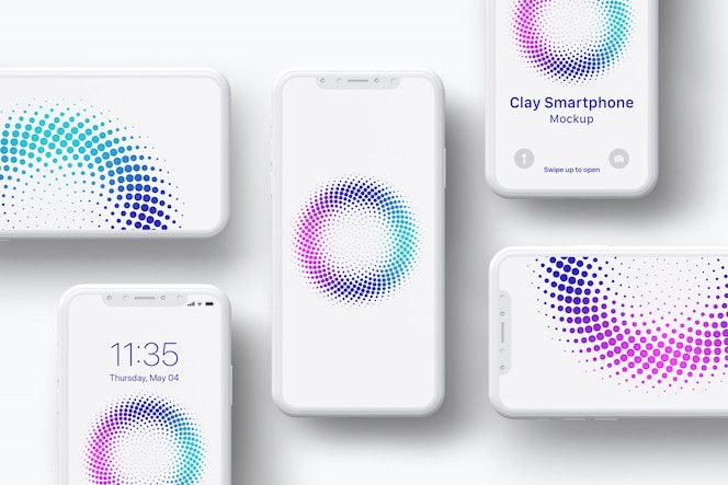 Clay smartphone screen mockup - composition