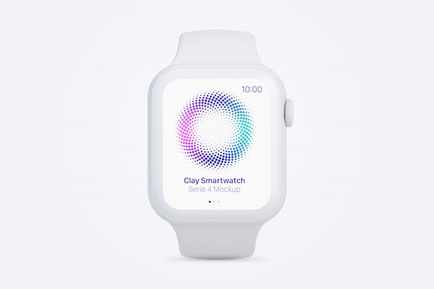 Clay smartwatch mockup, front view