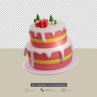Рождественский розовый торт в глиняном стиле с деревом и подарочной коробкой, вид сбоку 3d иллюстрации