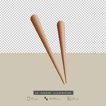 Clay style cute chop sticks 3d illustration isolated