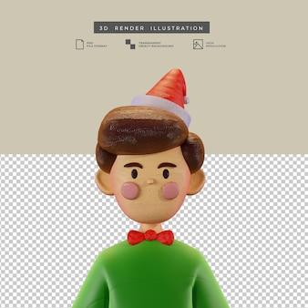 Симпатичный рождественский мальчик в стиле глины, аватар, 3d иллюстрация
