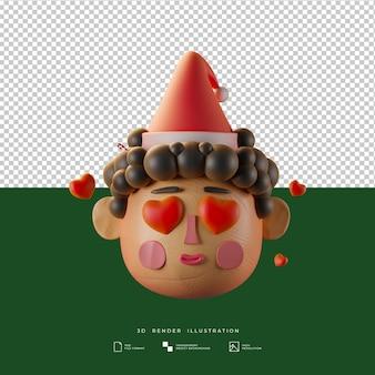 粘土スタイルのかわいいクリスマスの男の子の愛の表現3dイラスト