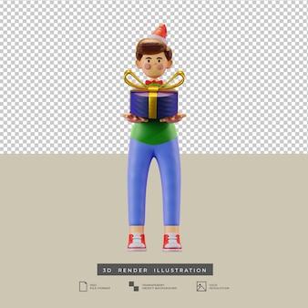 Симпатичный рождественский мальчик в глиняном стиле с подарочной коробкой с золотым бантом, вид спереди, 3d иллюстрация