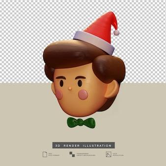 分離されたサンタ帽子3dイラストと粘土スタイルのかわいいクリスマスの男の子