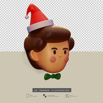 分離されたサンタ帽子の側面図3dイラストと粘土スタイルのかわいいクリスマスの男の子