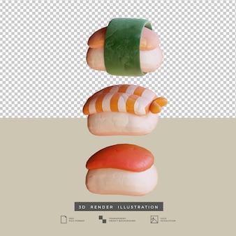 粘土スタイルのかわいい日本食寿司3dイラスト分離