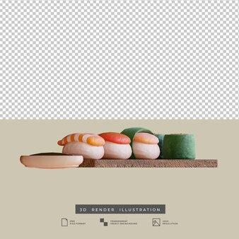 粘土スタイルの日本食寿司側面図3dイラスト