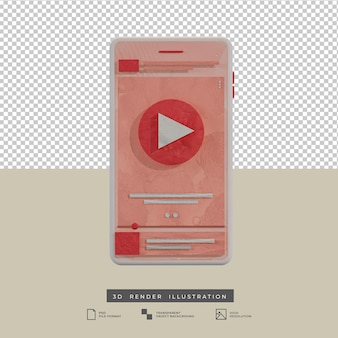 Clay style pink theme music app design front view 3d illustration