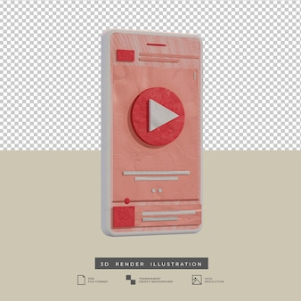 Clay style pink theme music app design side view 3d illustration