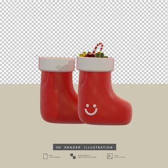 Красные рождественские носки в глиняном стиле с подарочной коробкой и 3d-иллюстрацией леденца