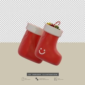 선물 상자와 사탕 지팡이 3d 일러스트와 함께 클레이 스타일의 빨간 크리스마스 양말