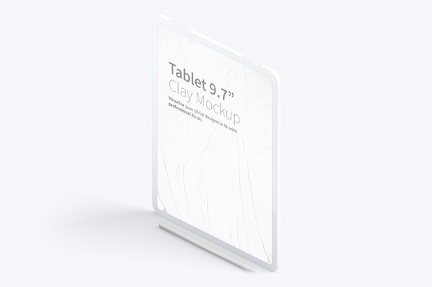 "Clay tablet pro 12.9"" mockup, isometric left view"
