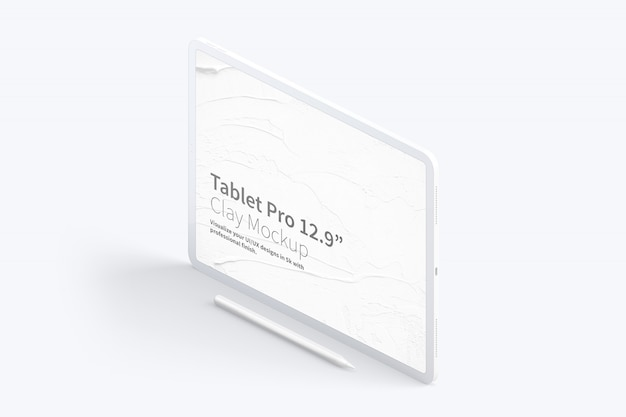 Clay tablet pro 12.9 mockup, isometric right view