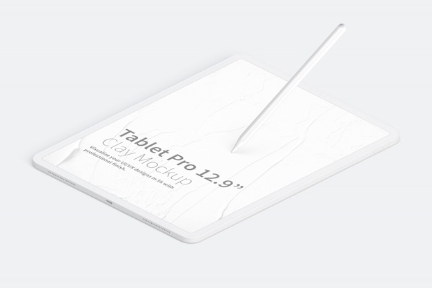"""Clay tablet pro 12.9"""" mockup, isometric right view"""