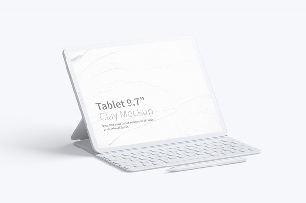 "Clay tablet pro 12.9"" mockup, with keyboard"