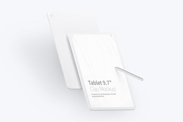 """Clay tablet pro 12.9""""モックアップ、ポートレート正面および背面図"""