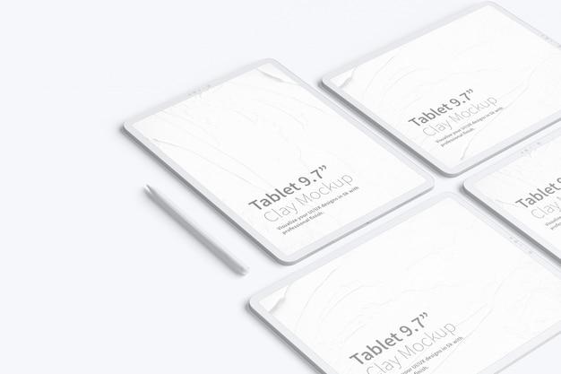 """Clay tablet pro 12.9""""モックアップ、グリッドレイアウト"""