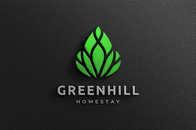 Clean 3d company glossy logo mockup