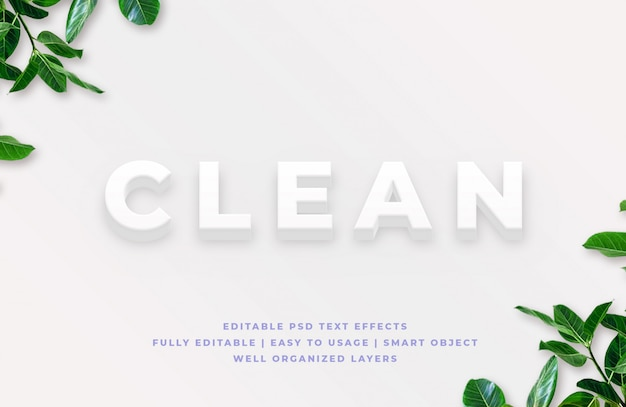 Clean 3d text style effect mockup