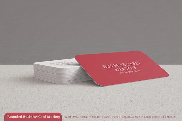 Clean 90x50 rounded and textured company business card mockups templates