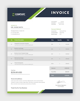 Clean abstract business invoice template design