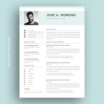 クリーンでシンプルな履歴書テンプレートデザイン