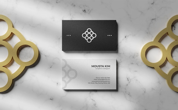 Clean black and white business card mockup