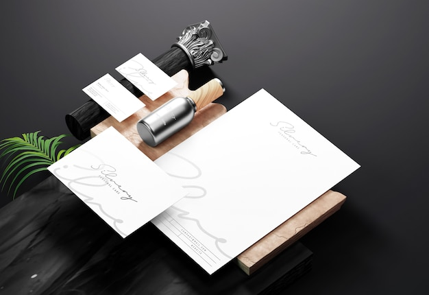 Clean brand identity and stationery mockup with silver foil print effect