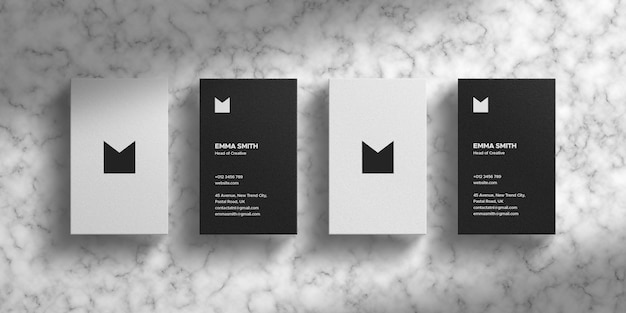 Clean business card mockup on marbel texture