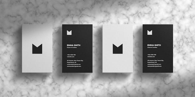 Чистый макет визитной карточки на текстуре marbel