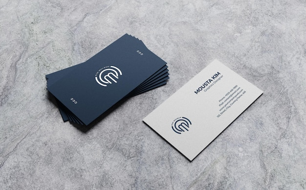 Clean business card mockup on rough background