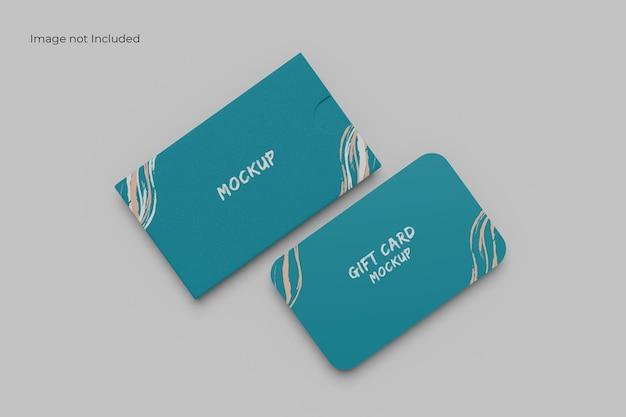 깨끗한 카드 및 홀더 목업