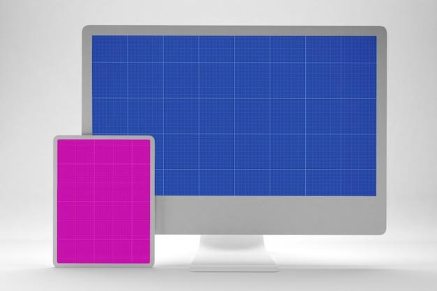 クリーンなコンピューターとタブレットのモックアップ