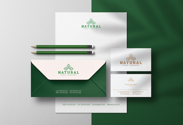 Clean corporate identity scene creator & mockup with pressed print effect