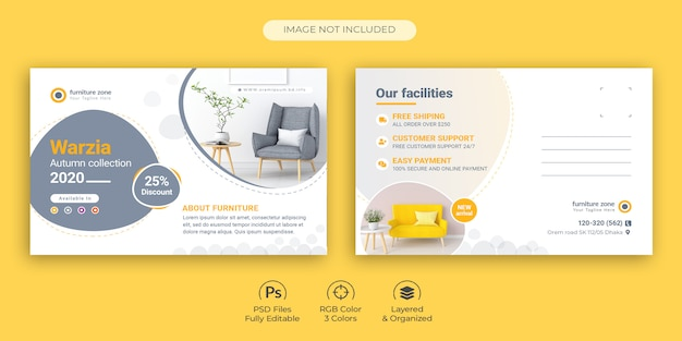 Clean and creative furniture promotional postcard template premium psd