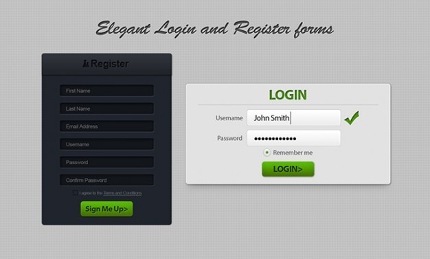 Clean dark form login register ui