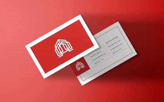Чистый плоский теневой макет визитной карточки