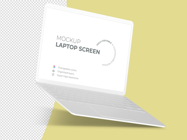 Clean floating laptop screen mockup template