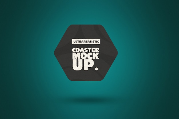 Clean hexagon coaster mockup
