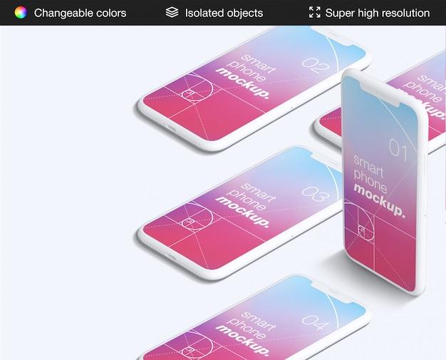 クリーンな高角度のスマートフォンアプリの画面のモックアップテンプレート