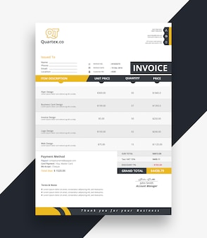 Clean invoice bill template
